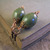 Green ceramic earrings with copper details