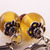 Victorian style amber & yellow glass lever-back earrings