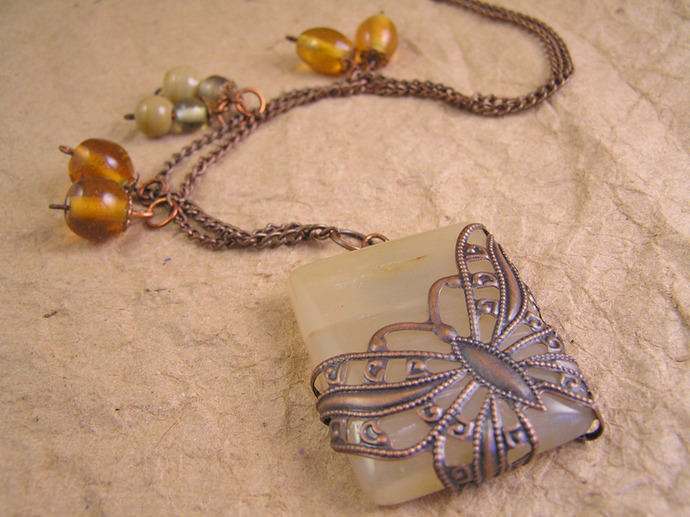 Agate filigree Butterfly necklace with copper chain