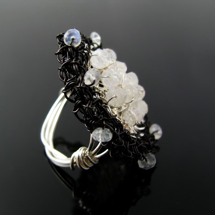 Fine silver and black wire crochet and moonstone ring - Fly me to the moon