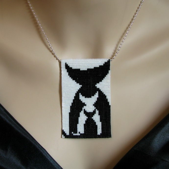 Bead loomed nesting cat pendant More of Us - A HeatherCat