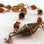 Amber colored Choker necklace with copper
