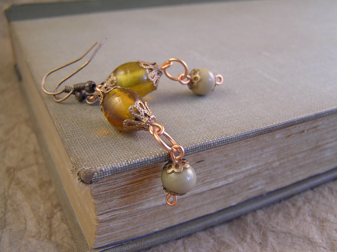 Amber & tan glass earrings with filigree copper beadcaps