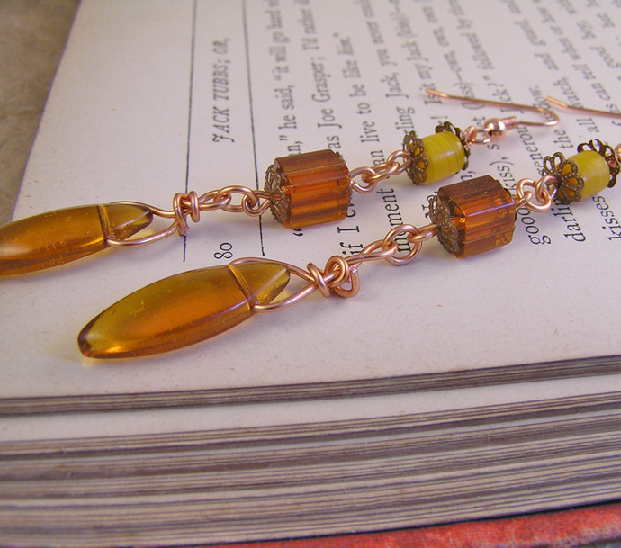 Orange Glass earrings with long, funky retro style