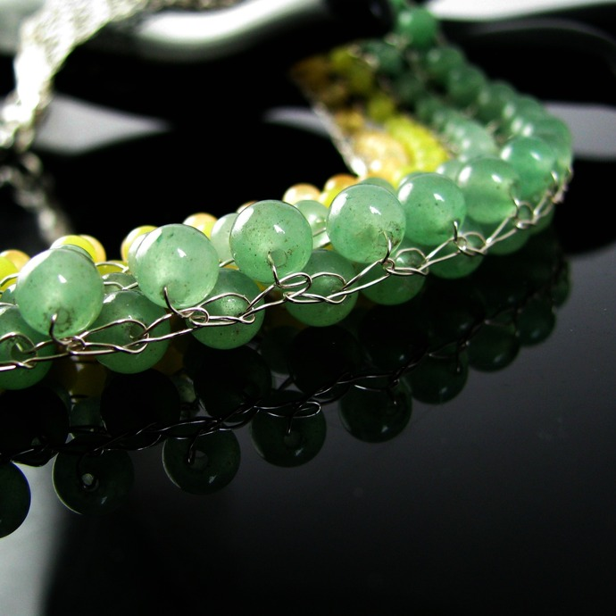 Wire knit collar with yellow and green beads - Burst of spring