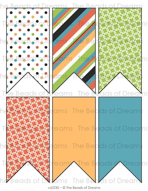 6 pennants - orange green blue - Printable pennants - Printable digital collage