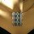 Bead loomed geometric opal white and blue floor tile pendant