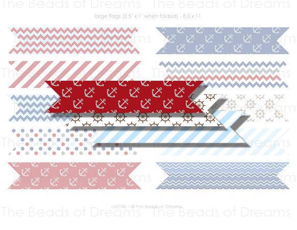 10 Digital flags nautical red blue - Straw Flag - Printable digital collage