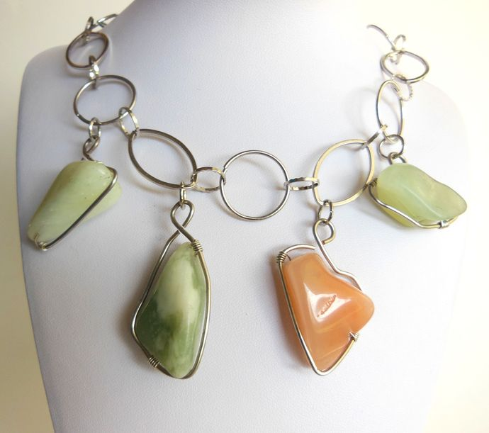 Handmade Chunky Green and Orange Gemstone Necklace on Large Silver Chain