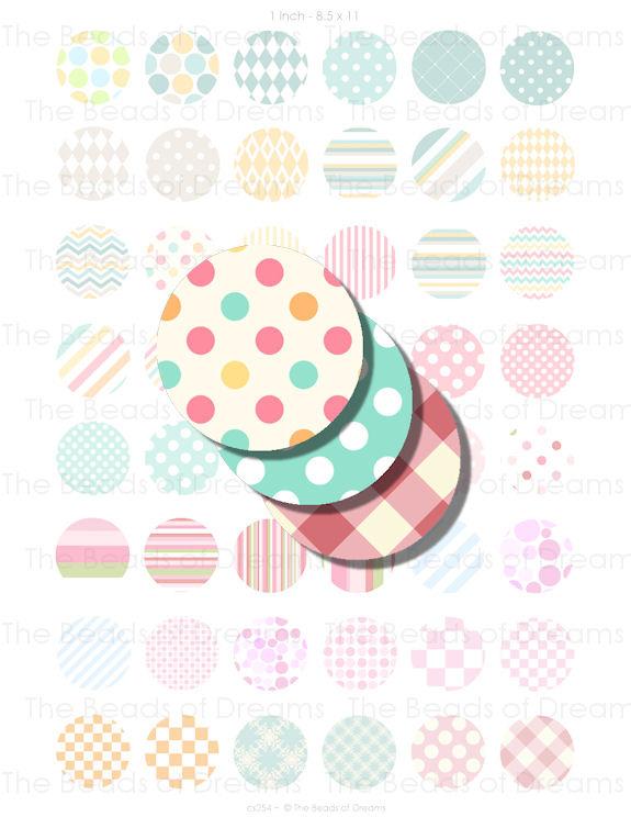1 inch circle round 25mm digital image retro - Printable digital collage sheet -