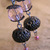 Pink glass and blackened metal earrings