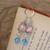 Pink and blue glass crystal dangle earrings