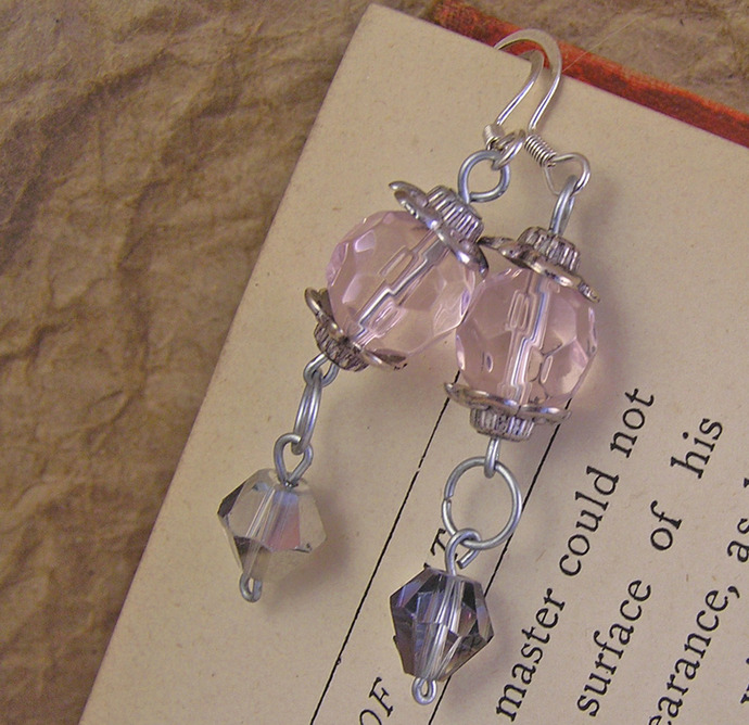 Pink and metallic glass earrings with silvertone details