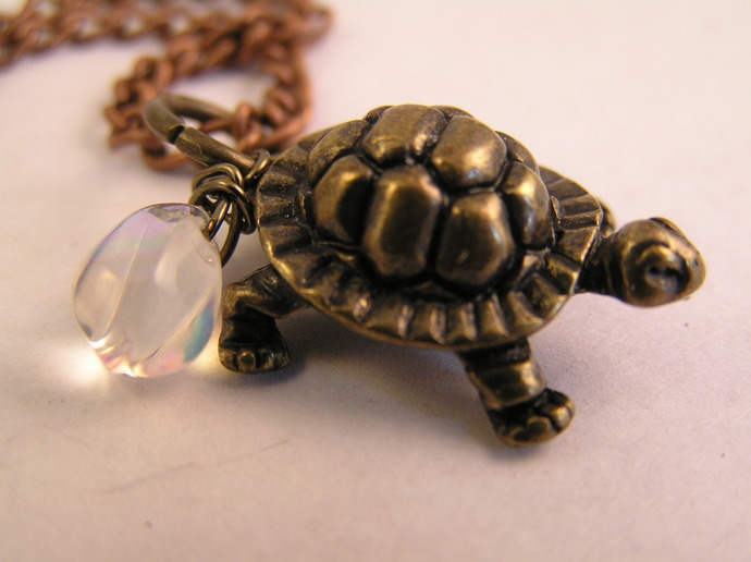 Copper Turtle necklace with teardrop bead
