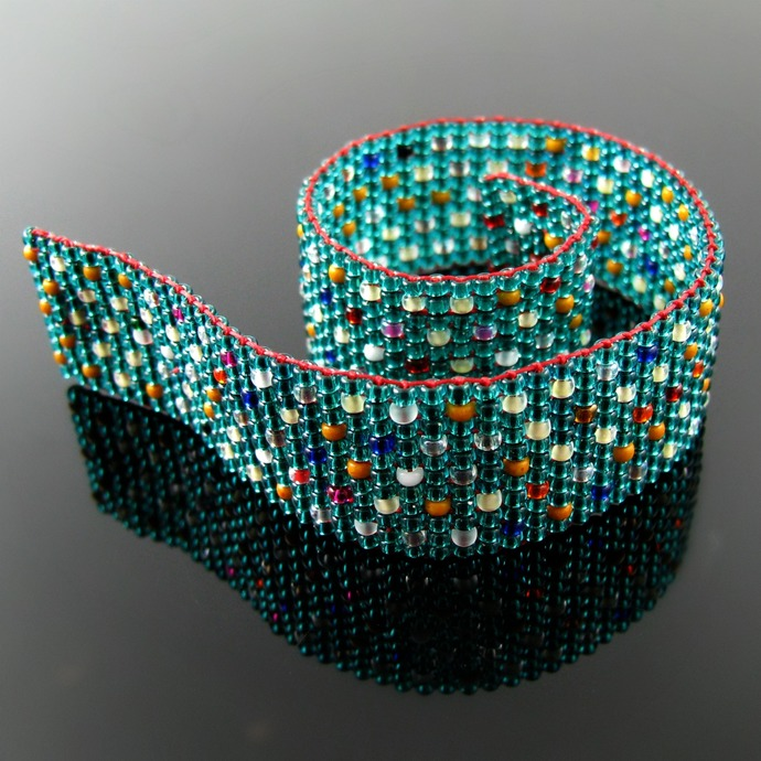 Slim bead loomed teal snap and wrap bracelet with colorful dots