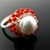 Silver wire crochet ring with pearl and carnelian