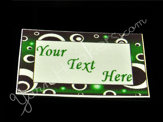 "Green Circles - ""Iron On"" or "" Sew In"" - Cotton Fabric Labels (White) - For"
