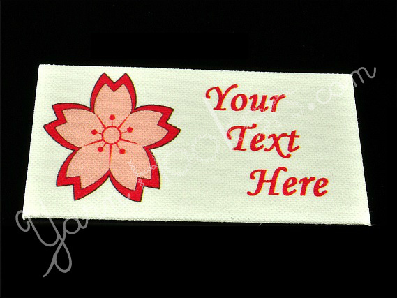 """Cherry Blossom - """"Iron On"""" or """" Sew In"""" - Cotton Fabric Labels (White) - For"""