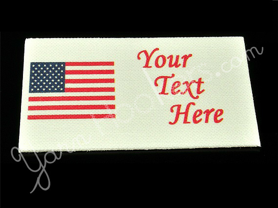 "American Flag - USA - ""Iron On"" or "" Sew In"" - Cotton Fabric Labels (White) -"