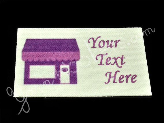 "Storefront - ""Iron On"" or "" Sew In"" - Cotton Fabric Labels (White) - For"