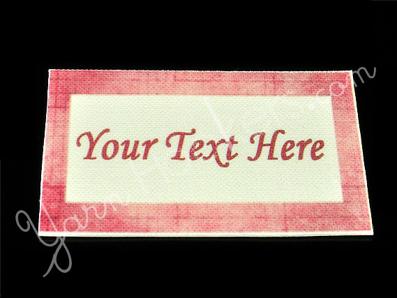 """Pink Border - """"Iron On"""" or """" Sew In"""" - Cotton Fabric Labels (White) - For"""