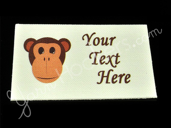 """Monkey Face - """"Iron On"""" or """" Sew In"""" - Cotton Fabric Labels (White) - For"""