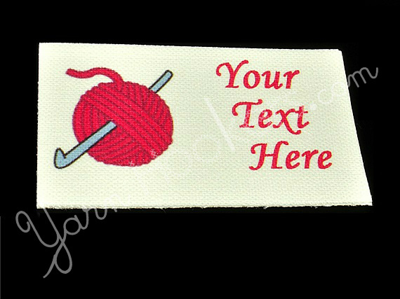 "Crochet Hook and Yarn - ""Iron On"" or "" Sew In"" - Cotton Fabric Labels (White) -"