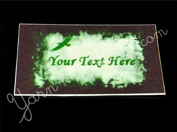 "Green Bird - ""Iron On"" or "" Sew In"" - Cotton Fabric Labels (White) - For"