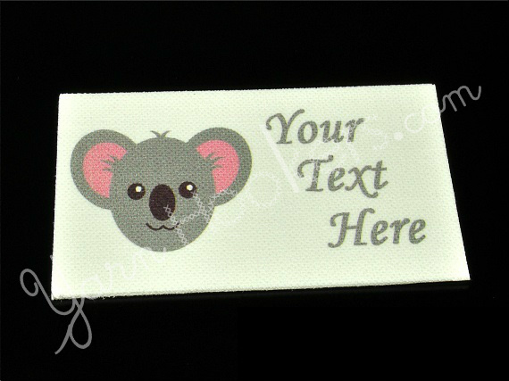 "Koala Bear - ""Iron On"" or "" Sew In"" - Cotton Fabric Labels (White) - For"