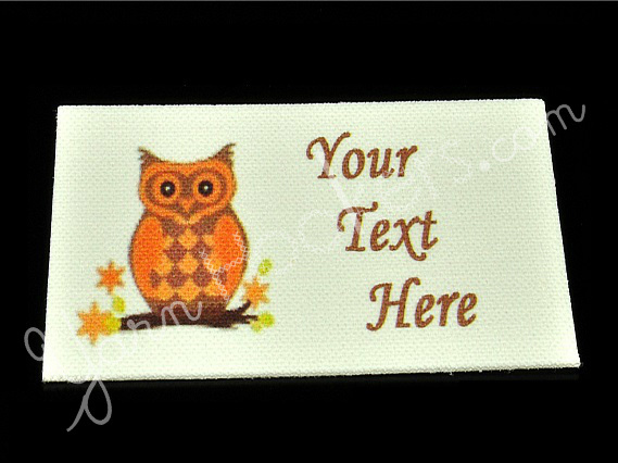 """Orange Owl - """"Iron On"""" or """" Sew In"""" - Cotton Fabric Labels (White) - For"""
