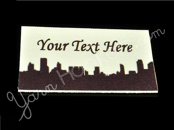 """City Skyline - """"Iron On"""" or """" Sew In"""" - Cotton Fabric Labels (White) - For"""