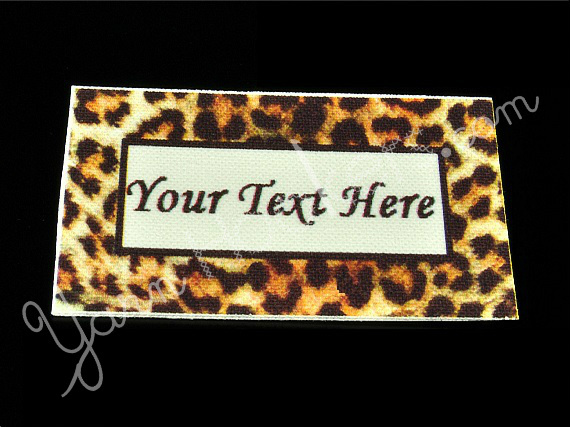 """Leopard Print - """"Iron On"""" or """" Sew In"""" - Cotton Fabric Labels (White) - For"""