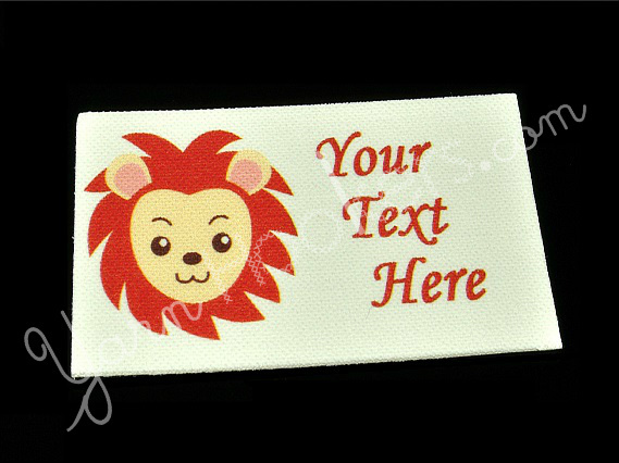 "Lion Face - ""Iron On"" or "" Sew In"" - Cotton Fabric Labels (White) - For Crochet,"