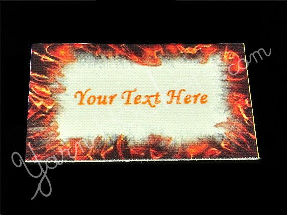 """Flame - """"Iron On"""" or """" Sew In"""" - Cotton Fabric Labels (White) - For Crochet,"""