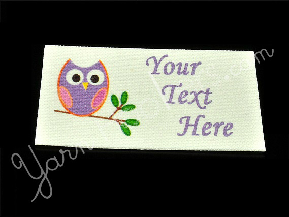 "Happy Owl - ""Iron On"" or "" Sew In"" - Cotton Fabric Labels (White) - For Crochet,"