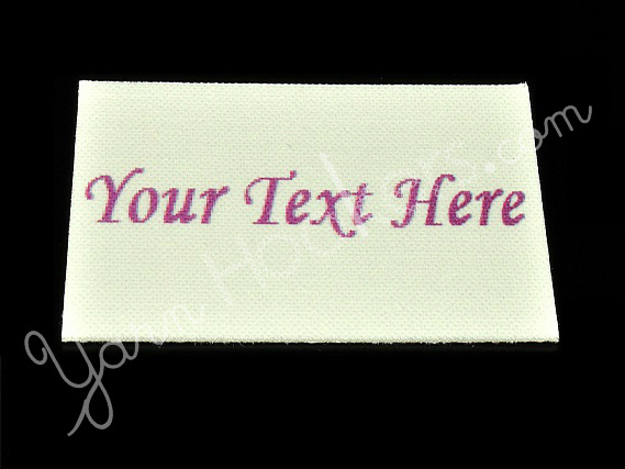 """Plain with Text - """"Iron On"""" or """" Sew In"""" - Cotton Fabric Labels (White) - For"""