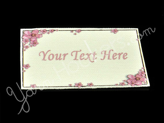 """Pink Flower Frame - """"Iron On"""" or """" Sew In"""" - Cotton Fabric Labels (White) - For"""