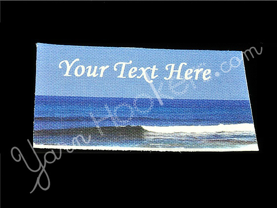 """Ocean Wave - """"Iron On"""" or """" Sew In"""" - Cotton Fabric Labels (White) - For"""