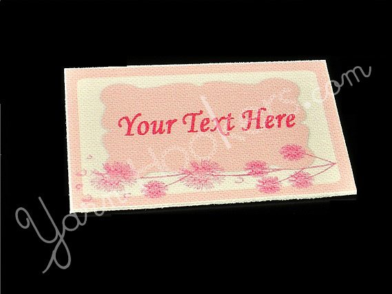 """Pink Dandelion - """"Iron On"""" or """" Sew In"""" - Cotton Fabric Labels (White) - For"""