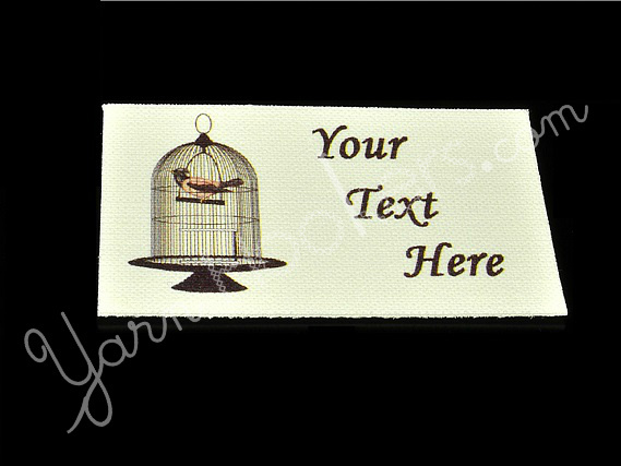 """Bird in a Cage - """"Iron On"""" or """" Sew In"""" - Cotton Fabric Labels (White) - For"""