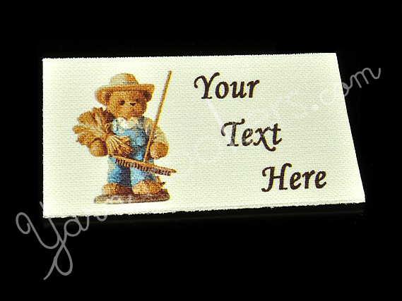 "Teddy the Bear - ""Iron On"" or "" Sew In"" - Cotton Fabric Labels (White) - For"