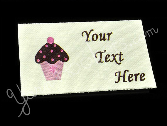 "Cupcake - ""Iron On"" or "" Sew In"" - Cotton Fabric Labels (White) - For Crochet,"