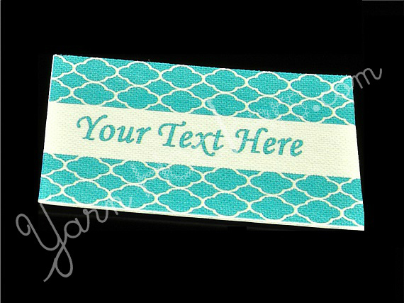 "Blue Shells - ""Iron On"" or "" Sew In"" - Cotton Fabric Labels (White) - For"