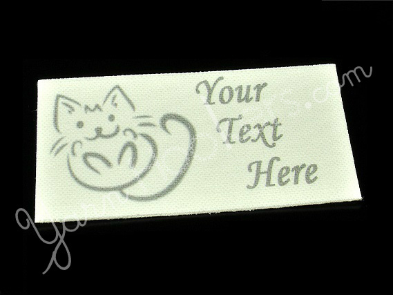 "Kitty Scribble - ""Iron On"" or "" Sew In"" - Cotton Fabric Labels (White) - For"