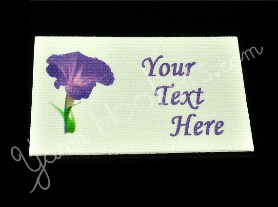 "Morning Glory Flower - ""Iron On"" or "" Sew In"" - Cotton Fabric Labels (White) -"