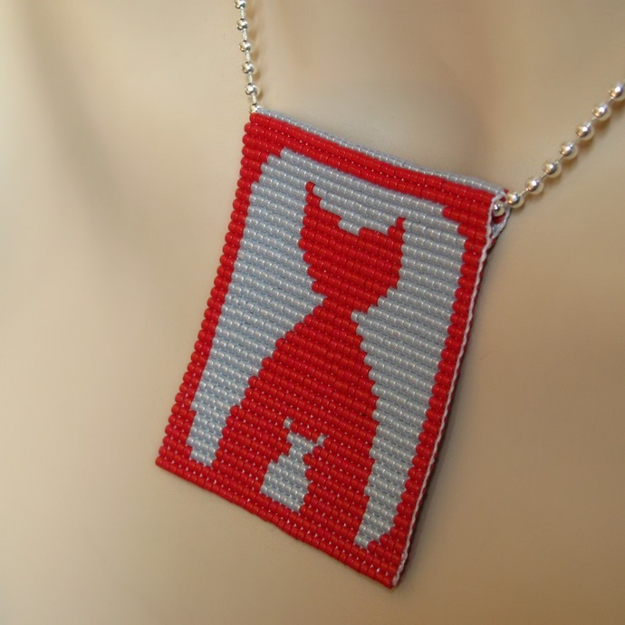 Bead loomed red and grey cat pendant Us Again - A HeatherCat