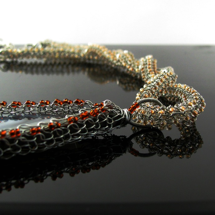 Long wire knit necklace with agate slice and seed beads
