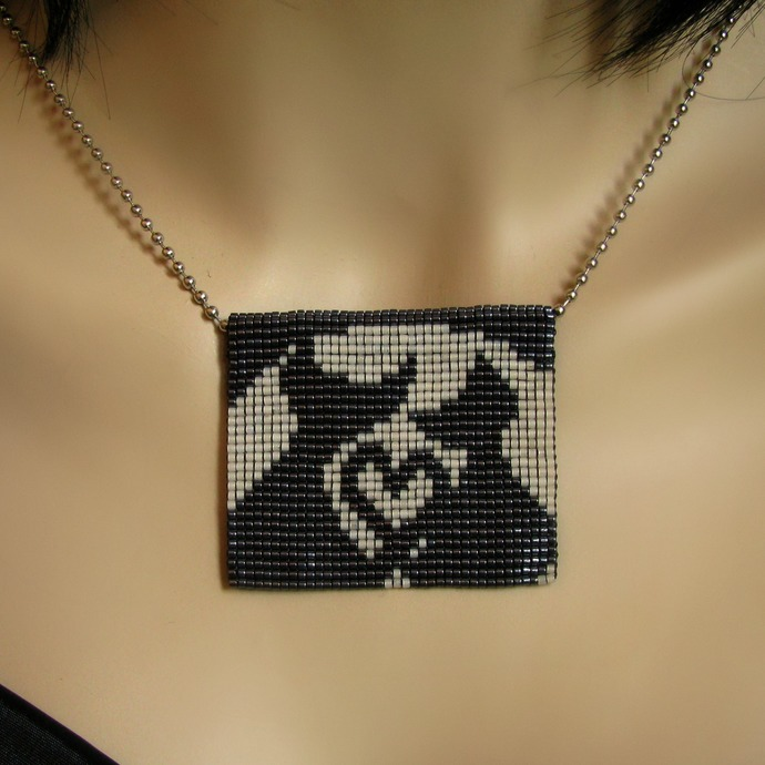 Bead loomed loving cat pendant Lovecats - A HeatherCat