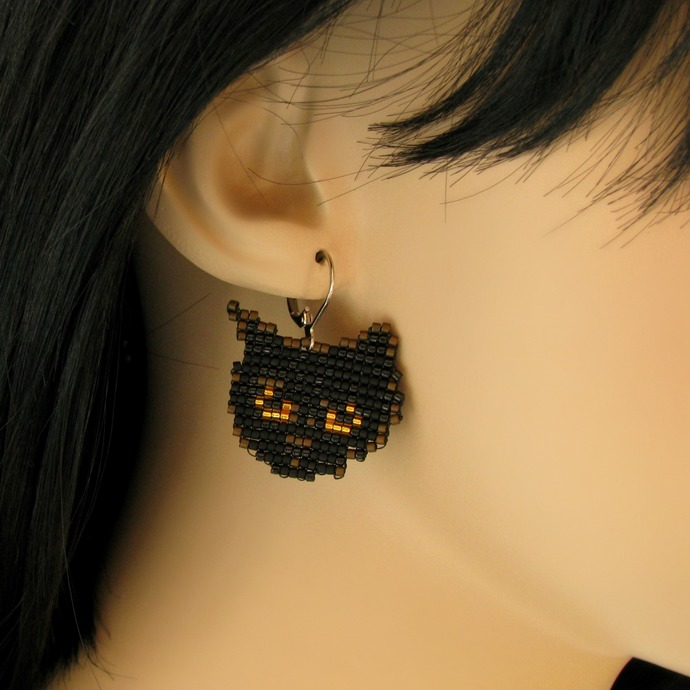 Bead loomed black cat earrings - A HeatherCat