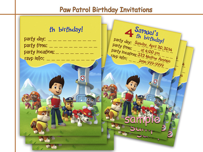 Amazing Paw Patrol Birthday Invitations, | HolidayPartyStar